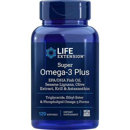 Super Omega-3 EPA/DHA z Lignanami Sezamowymi i Wyciągiem z Oliwki, Olejem z Kryla i Astaksantyną, 120 kaps.